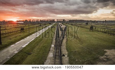 Panorama of the Birkenau concentration camp in the sunset