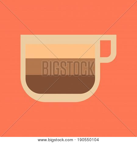 flat icon on stylish background coffee cup latte macchiato
