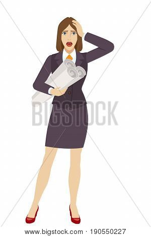 Businesswoman holding the project plans and grabbed his head. Full length portrait of businesswoman character in a flat style. Vector illustration.