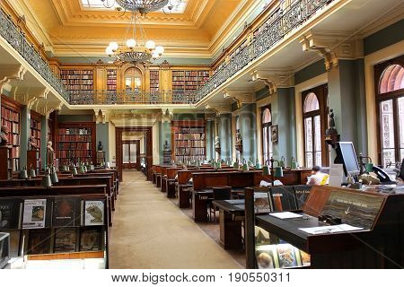 LONDON, ENGLAND - May 24,2017: reading room in the library of the Victoria and Albert Museum, London, UK