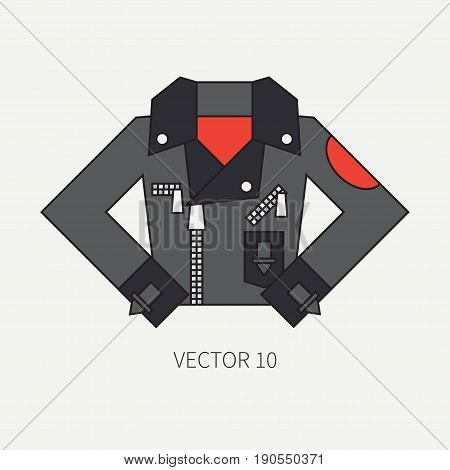 Line flat color vector icon wear - leather jackets. Punk rock style. Illustration texture for design, wallpaper.