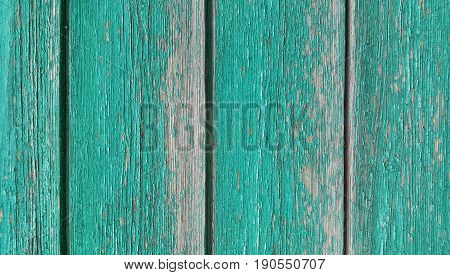 Texture of old wooden green fence close-up