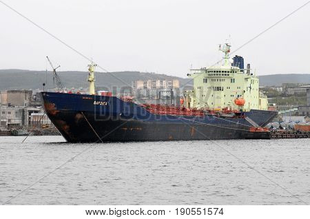 Murmansk, Russia - May 25, 2010: The tanker Varzuga stands at the pier in the port of Murmansk