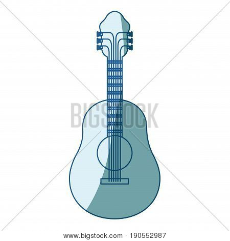 blue shading silhouette of acoustic guitar vector illustration