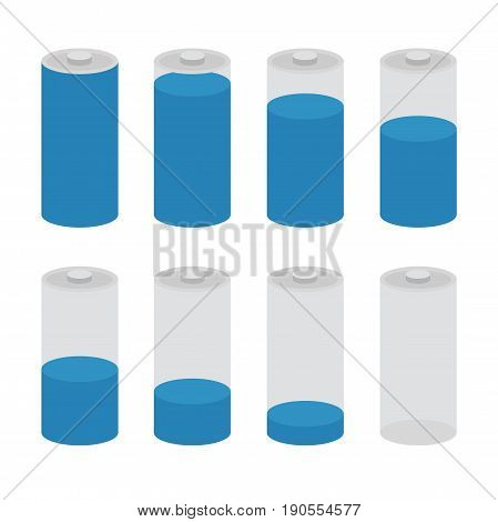 Battery charge set. Symbols of battery charge level, full, medium and low.