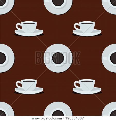 Cups seamless pattern. Coffee cup isolated on brown background. Top view and side view white coffee cup. Coffee cup vector illustration
