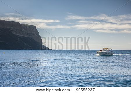 CASSIS,FRANCE-AUGUST 10,2016:Motorboat in the sea near cassis in the national park of calanchi France during a sunny day