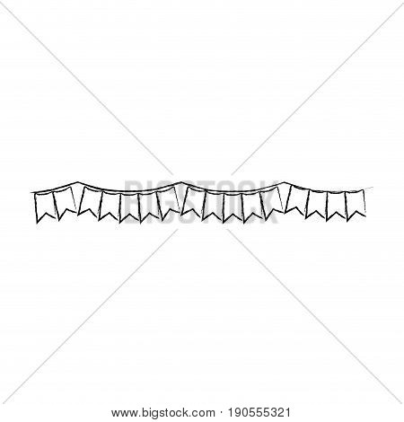 monochrome blurred silhouette of festoons in shape of square with peaks vector illustration
