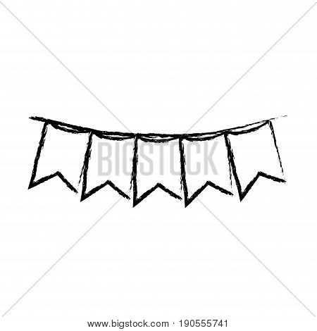 monochrome blurred silhouette of festoons in shape of square with peaks in closeup vector illustration
