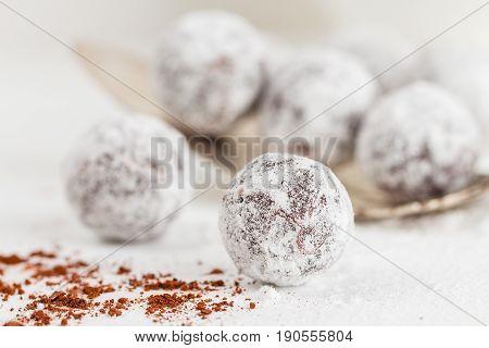 Closeup Chocolate Truffles With Sugar Powder