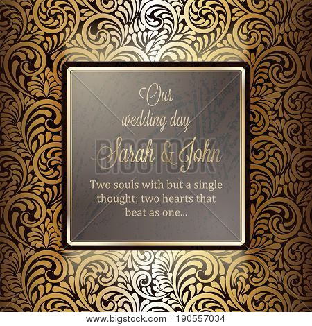 Invitation Card Or Background With Antique, Luxury Gold Frame, Ornamental Banner, Intricate Wallpape