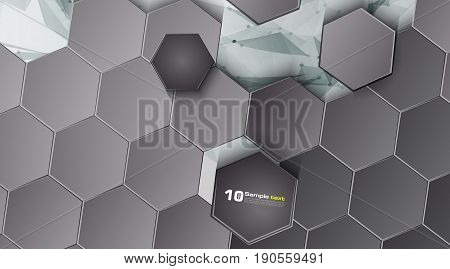 Abstract Background. Gray Background Of A Chopped Hexagonal Mosa