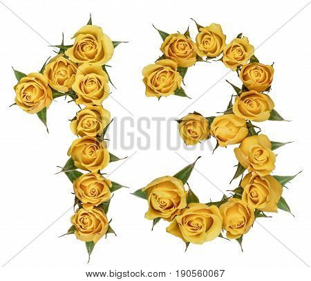 Arabic Numeral 13, Thirteen, From Yellow Flowers Of Rose, Isolated On White Background