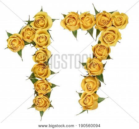 Arabic Numeral 17, Seventeen, From Yellow Flowers Of Rose, Isolated On White Background