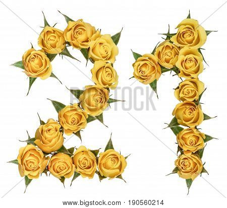 Arabic Numeral 21, Twenty One, From Yellow Flowers Of Rose, Isolated On White Background