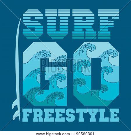 t-shirts go surfing Miami Beach Florida surfing T-shirt inscription typography graphic design emblem