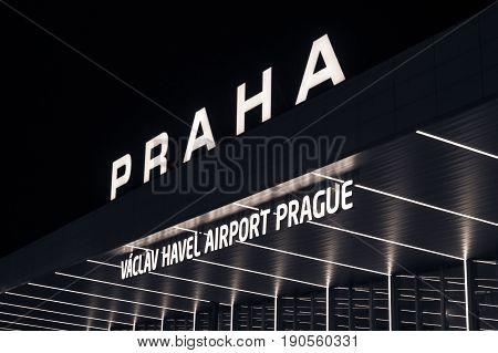 Night view of International airport in Prague, Czech Republic. Vaclav Havel airport Prague