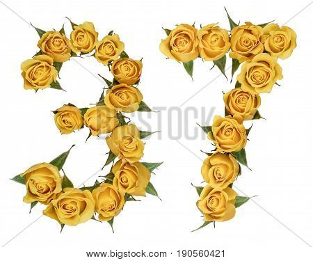 Arabic Numeral 37, Thirty Seven, From Yellow Flowers Of Rose, Isolated On White Background