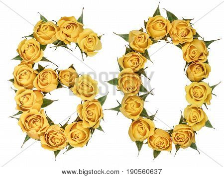 Arabic Numeral 60, Sixty, From Yellow Flowers Of Rose, Isolated On White Background