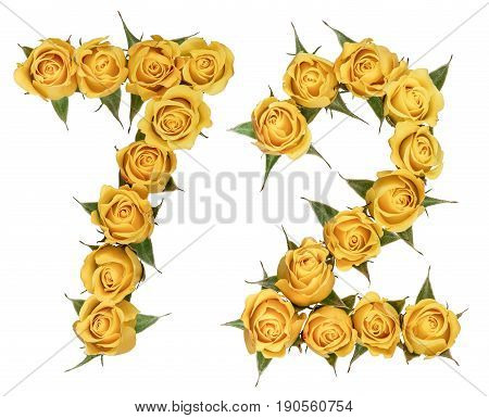 Arabic Numeral 72, Seventy Two, From Yellow Flowers Of Rose, Isolated On White Background