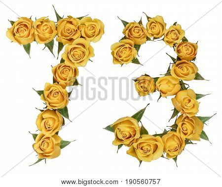 Arabic Numeral 73, Seventy Three, From Yellow Flowers Of Rose, Isolated On White Background