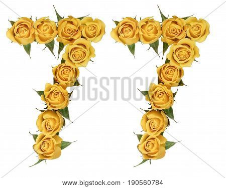 Arabic Numeral 77, Seventy Seven, From Yellow Flowers Of Rose, Isolated On White Background