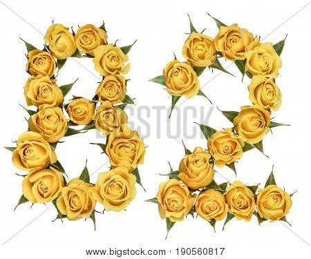 Arabic Numeral 82, Eighty Two, From Yellow Flowers Of Rose, Isolated On White Background