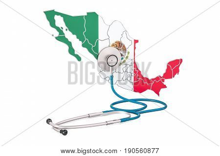 Mexican map with stethoscope national health care concept 3D rendering