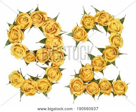 Arabic Numeral 92, Ninety Two, From Yellow Flowers Of Rose, Isolated On White Background