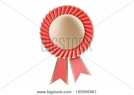 Red rosette winning award prize medal or badge with ribbons. 3D rendering isolated on white background