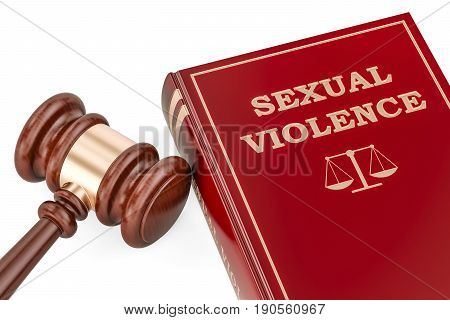 Sexual violence concept with gavel and book 3D rendering
