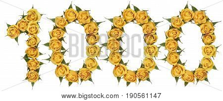 Arabic Numeral 1000, One Thousand, From Yellow Flowers Of Rose, Isolated On White Background