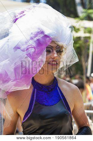 Tel Aviv, Israel - June 9, 2017: Extravagant transgender guy at Gay Pride Parade