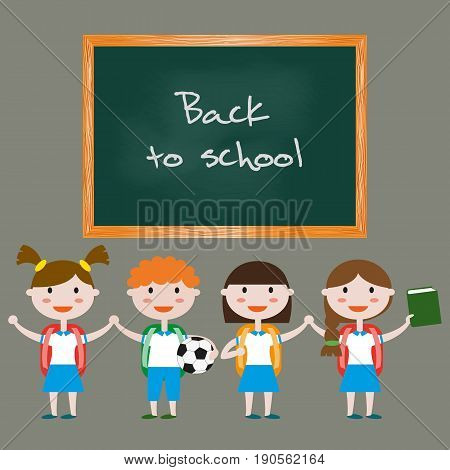 Children in school uniform. Back to school background. Vector illustration.