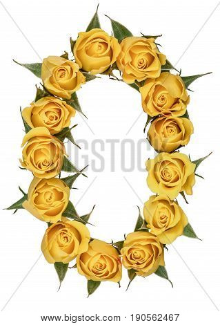 Arabic Numeral 0, Zero, From Yellow Flowers Of Rose, Isolated On White Background