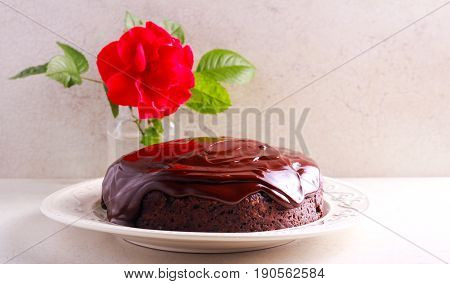 Chocolate devil's cake with chocolate ganache on top