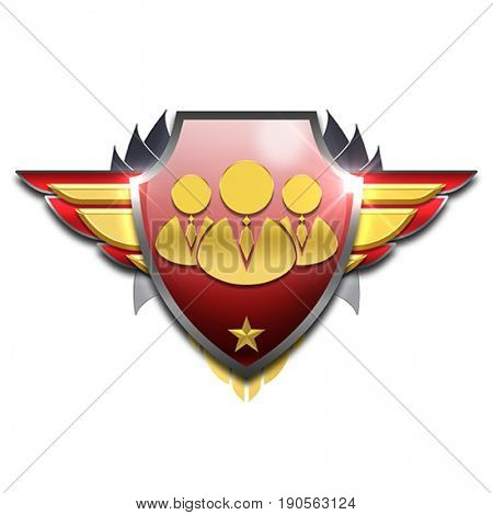 red and yellow pilot wings badge symbolizing good management skills