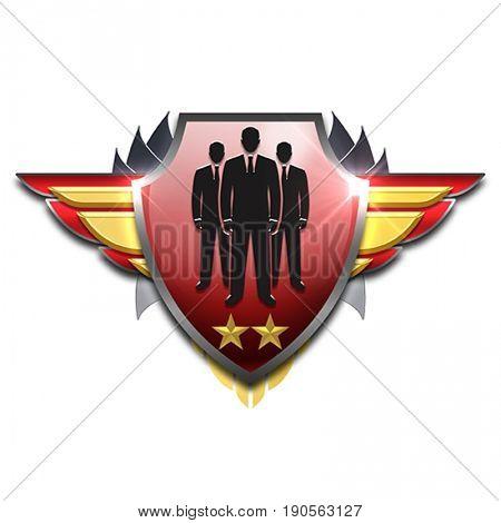 red and yellow shiny badge symbolizing good management skills