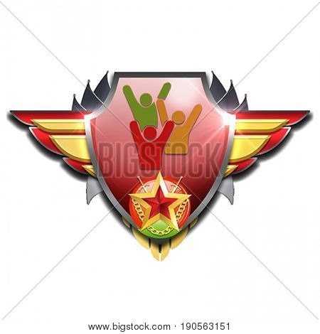 red and yellow badge with wings symbolizing management skills and people being happy