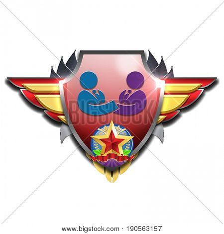 red and yellow badge with wings symbolizing two managers striking a deal or coming to an agreement