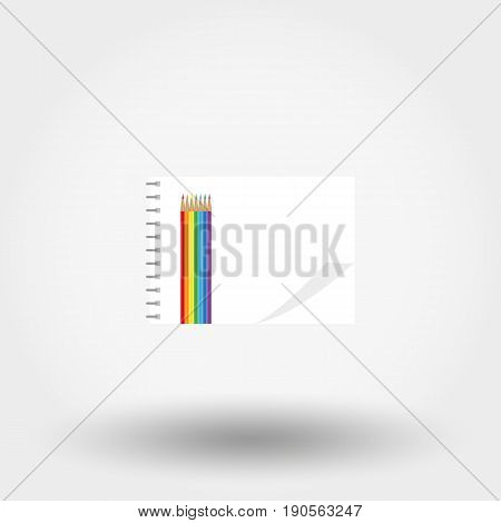 Album for drawing and colored pencils. Icon for web and mobile application. Vector illustration isolated on a white background. Flat design style.