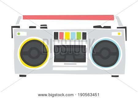 Old school colorful cassette player cartoon hand drawn style isolated vector illustration