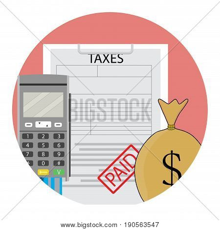 Tax year paid icon app flat. Year end tax profit account vector illustration