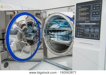 Modern laboratory autoclave sterilizer in dentistry sterilization department.