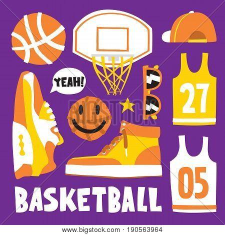 Basketball hand drawn kawaii style cartoon objects vector pattern set