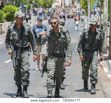 Tel Aviv, Israel - June 9, 2017: city security patrol at the streets during Gay Pride Parade