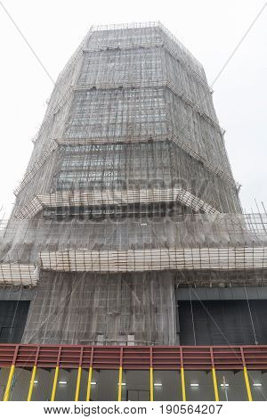 Bamboo Scaffolding at Skyscraper in Hong Kong