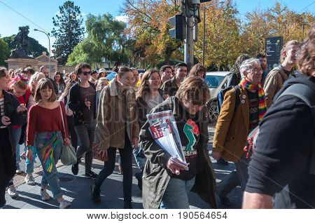 Adelaide, AU - June 10, 2017: South Australians gather at Parliament House and Rundle Mall to protest Trump's assumed support for laws discriminating against LGBTI people in the name of religious freedom.