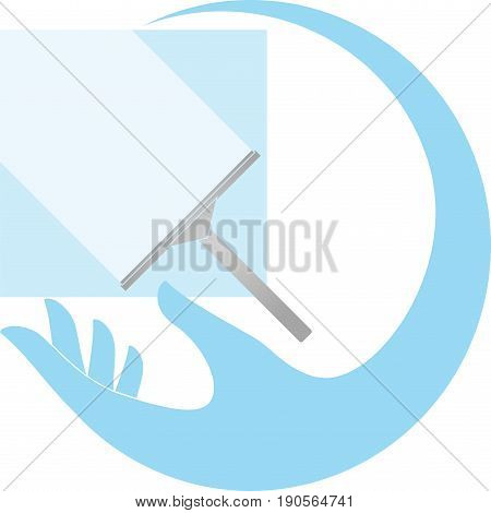 Hand and window wiper, colored, clean and window wiper logo