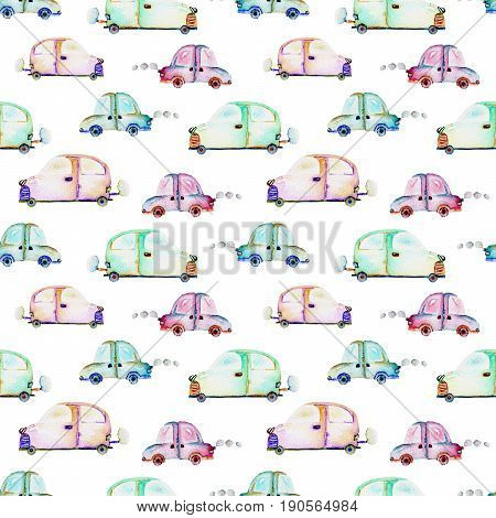Seamless pattern with watercolor toy cars, hand drawn isolated on a white background